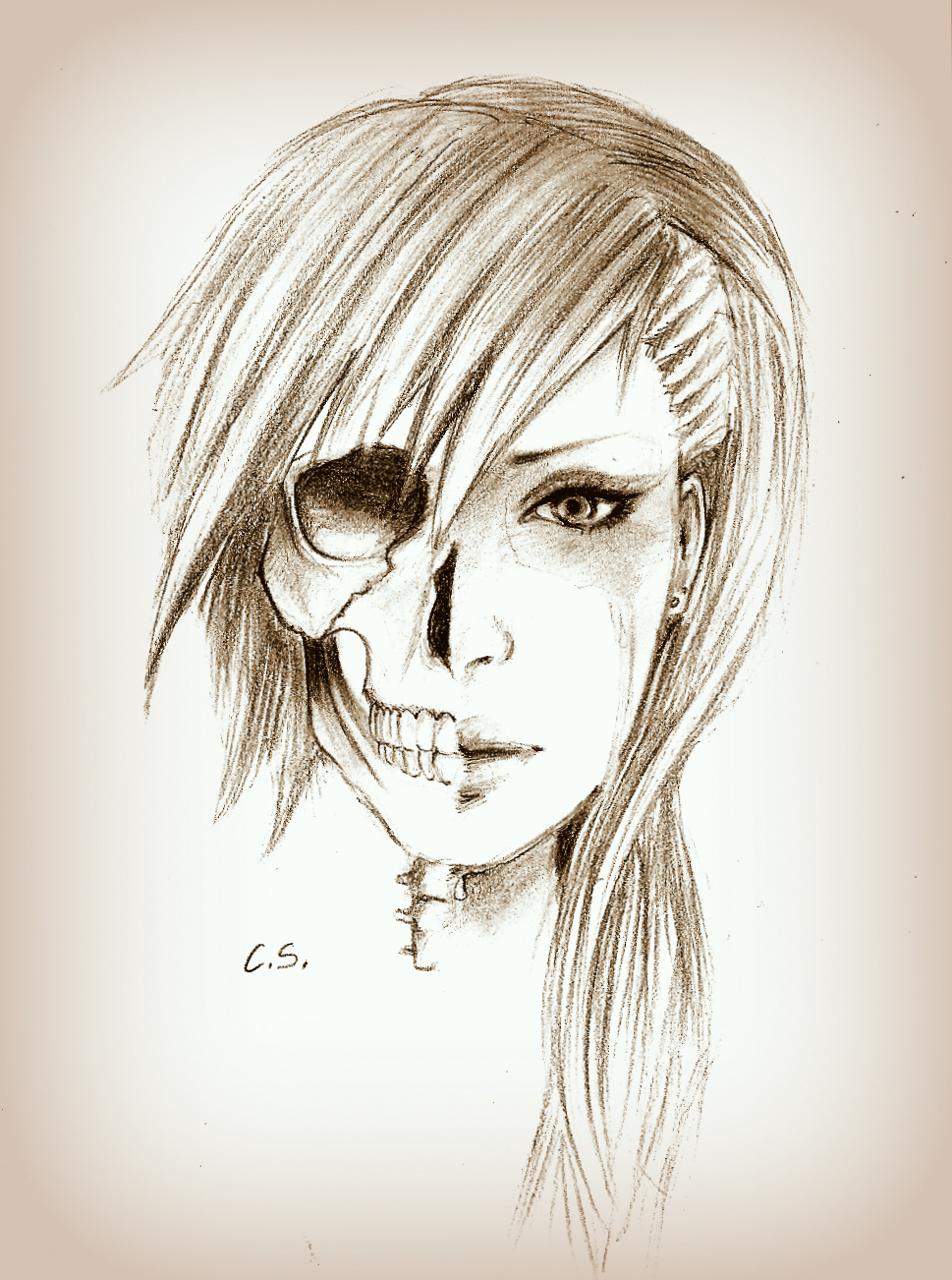 The face of a woman. One side is beautiful and full of life, the other side is a dead skeleton | drawing by cate397 on deviant art