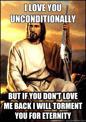 Jesus holding a rifle