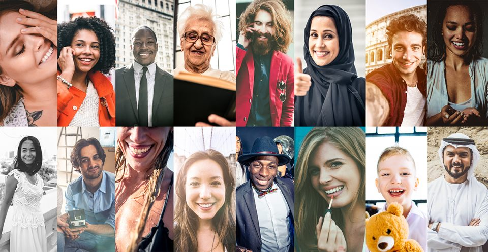Collage of faces from around the world